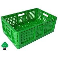 折りたたみコンテナ(緑)3個 ※1個からご購入できます。 約550(横)*約370(縦)*約200(高さ) 約 520(横内寸)*約187mm(高さ内寸)