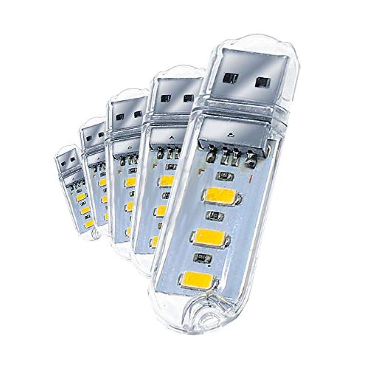 代表して砂結核USB LED スティックライト 電球色タイプ 5個セット パソコン PC USB ACチャージャー MC-5-SASARE-DE