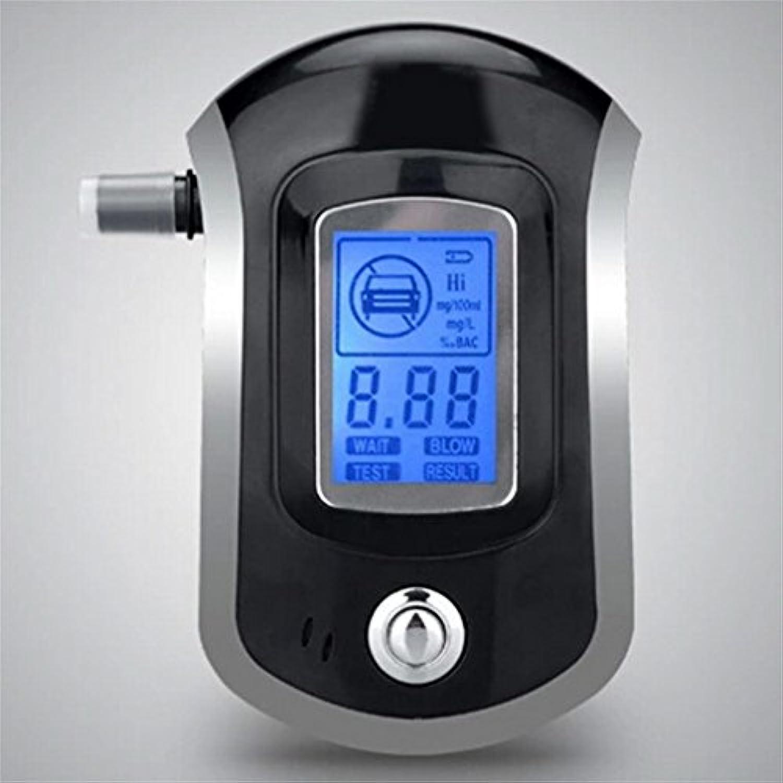 アルコールテスター大型デジタルLCDディスプレイ5個マウスピース(カラー:ブラック、シルバー)付きプロフェッショナルデジタル呼気分析器ブレスアナライザー