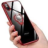iPhone XS Max ケースリング 透明 クリア リング付き tpu シリコン スリム 薄くて軽い耐衝撃 磁気カーマウントホルダー車載ホルダー対応 全面保護 滑り防止 一体型 人気 防塵 携帯カバー 高級なカーボン風 スクラッチ防止 (レッド)