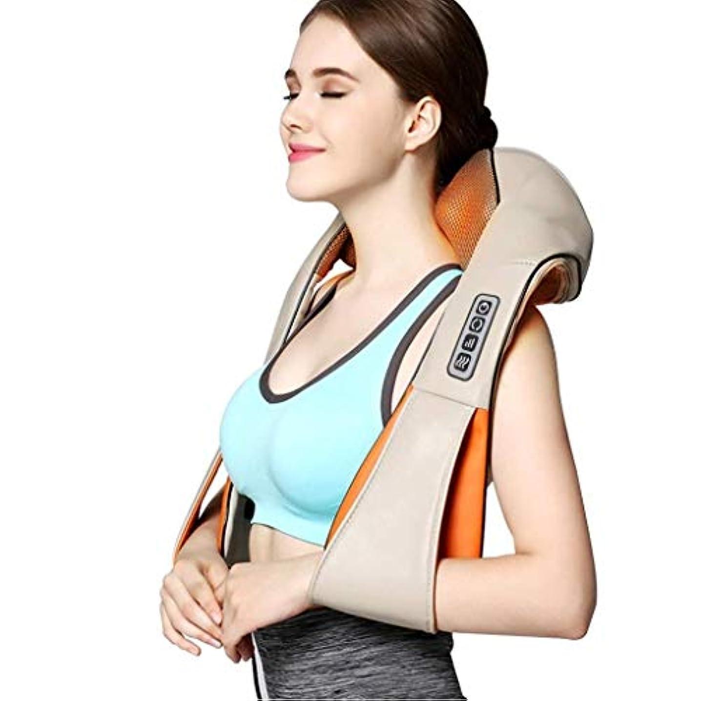 中間スカープバケツ指圧ネックの肩のマッサージャー - 3D深いティッシュの混合の首、肩、背中、足、マッサージの痛みを緩和する電気バックマッサージ枕車のオフィスや家庭でリラックス (Color : 4buttons)