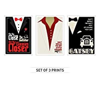 """ラボno 4セットの3つの「ゴッドファーザー」、「スカーフェイス」、「The Great Gatsby """" Movie Quote A3 (11.7"""" X 16.5"""") Unframed UW60MX1A3P"""