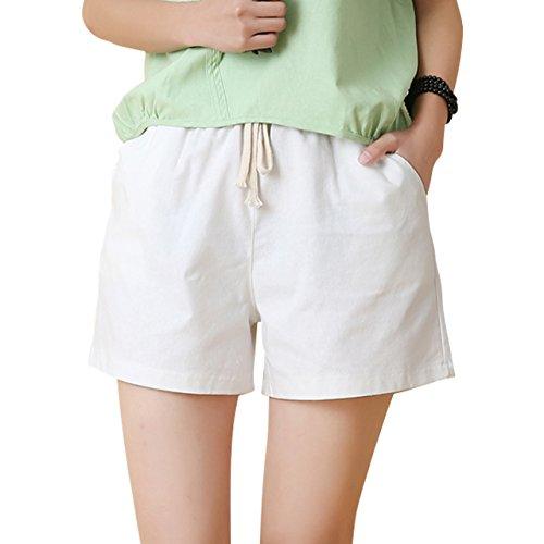 [necker] フィットネス ショートパンツ ランニング スポーツ ウエストゴム 短パン キュロット (L, 白)