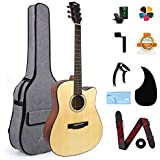 AKLOT Acoustic Guitar Full Size 41'' Spruce Cutaway Guitar Bundle for Students Kids Beginners W/Gig Bag Tuner Strap Picks Str