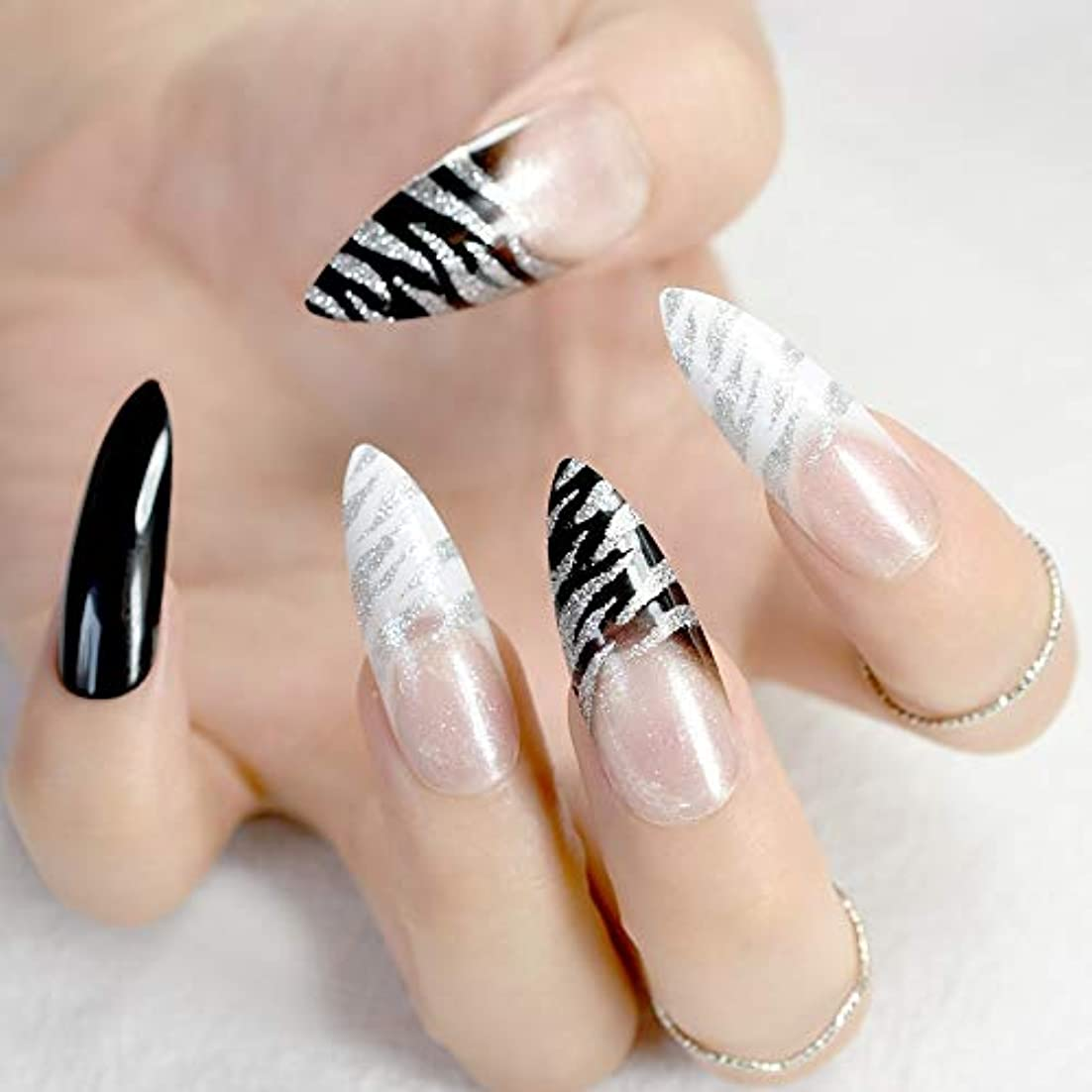 XUTXZKA 24ピースファッションアクリル尖った偽爪スティレット爪クリアキラキラフレンチネイルマニキュアのヒントフルカバー製品