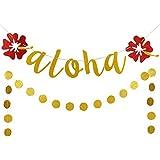 ゴールドラメ入りアロハ ハワイフラワーバナーとゴールドグリッターサークルドットガーランド ハワイをテーマにしたパーティーデコレーション