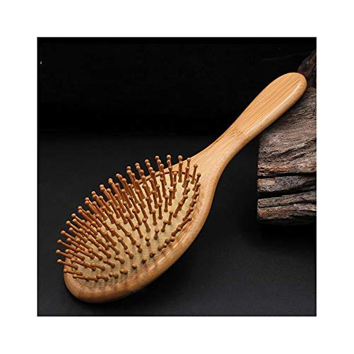 ピザ制限された紛争Fashian木製ヘアブラシ、100%竹木ヘアブラシ抗静的マッサージヘアコーム ヘアケア (色 : Round)