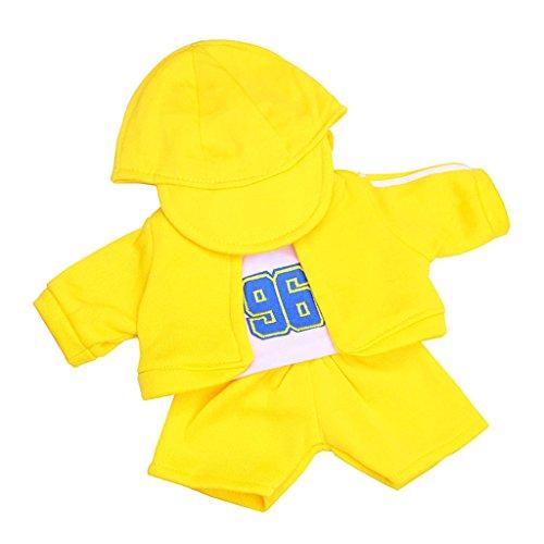 Lovoski 人形用  ファッション  服(コート&ベスト&パンツ&帽子)セット  18インチ  アメリカンガールドール適用  装飾  全5色  - イエロー