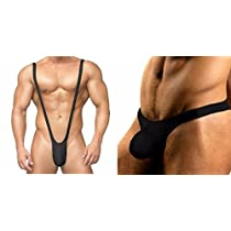 【Mrks】 V型 メンズ サスペンダー パンツ (フリーサイズ) Tバック ビキニ (XLサイズ) 変態仮面 (黒 XL, 黒)