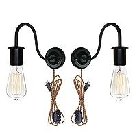 アンイイ2- Packミニマリスト工業ロフトスタイル壁取り付け用燭台ブラックエルボ壁ランププラグイン壁照明with UL認定織りロープディマースイッチコードBulb Included wl-bd0174X 2p-mh