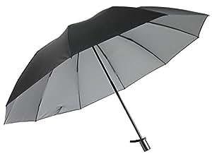男性用の晴雨兼用日傘 UV99%カット 2段式折りたたみ 大きいサイズ 丈夫な10本骨 裏シルバー (黒)