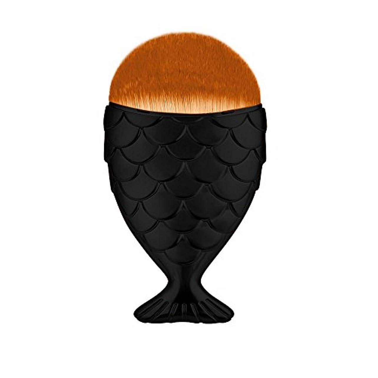 シンポジウム不公平の前で(プタス)Putars メイクブラシ ファンデーションブラシ マーメイド 黒 6*1.5*11cm 化粧ブラシ ふわふわ お肌に優しい 毛量たっぷり メイク道具 プレゼント