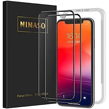 【2枚セット】Nimaso iPhone11 Pro Max/Xs Max 用 全面保護フィルム液晶強化ガラス 【ガイド枠付き】【日本製素材旭硝子製】(アイフォン 11 Pro Max/Xs Max 用)