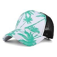 LPKH 帽子 男女兼用の野球帽のココナッツ木の印刷の網ヤーンの調節可能なヒップホップの平らな帽子 (Color : Green)