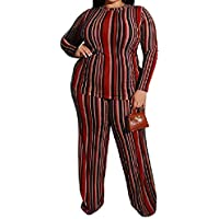 MogogN Women's 2 Piece Knitwear Stripes Casual Outfits Shirt and Long Pants