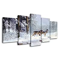 WZYWLH 壁アート5ピース動物カップルオオカミ絵画キャンバス抽象写真hdプリントポスター家の装飾のためのリビングルームフレームワーク