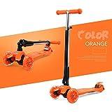 子供の折りたたみスクーターベビースクーター三輪車スクーターフラッシュを持ち上げることができますベビーカーの誕生日プレゼント ( Color : Orange )