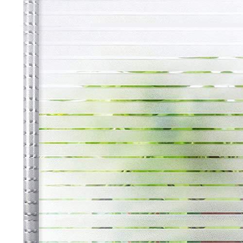 窓用フィルム 窓 めかくしシート 水で貼る 剥がせる ガラスフィルム 目隠し uvカツト オフィス 飛散防止 網入りガラス適用(ストライプ 90 x 200cm)