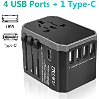 LOETAD Universal Travel Adapter Plug Adapter Travel Plug Worldwide Use with High Speed 2.4A 4 USB and 1Type-C for USA EU UK AUS Cell Phone Tablet Laptop Grey