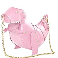 女性のショルダーバッグファッションPUレザー恐竜形状リベットメッセンジャーバッグ人格クリエイティブチェーンバッグクロスボディ財布バッグ,Pink