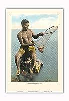 ハワイアンネット漁師(Lawai'a) - ビンテージなハワイの手で色彩されたポストカード c.1910 - アートポスター - 33cm x 48cm