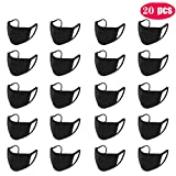 Three-layer Protective Anti-dust Black Mouth Mask,20 Pcs Unisex Fashioan Bilayer Cotton Face Mask Muffle Mask Anime Mask Washable Mask Reusable Mask for Cycling Camping Travel for Kids Teens Men Women