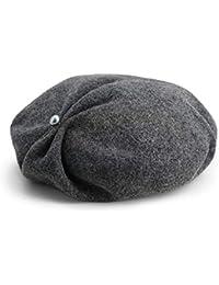 ベレッツソリッドカラーペインターハットレディースファッションプリーツビーニーハット春と秋冬帽子 (色 : Smoke gray)