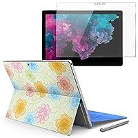 Surface pro6 pro2017 pro4 専用スキンシール ガラスフィルム セット 液晶保護 フィルム ステッカー アクセサリー 保護 フラワー 花 フラワー カラフル 003835
