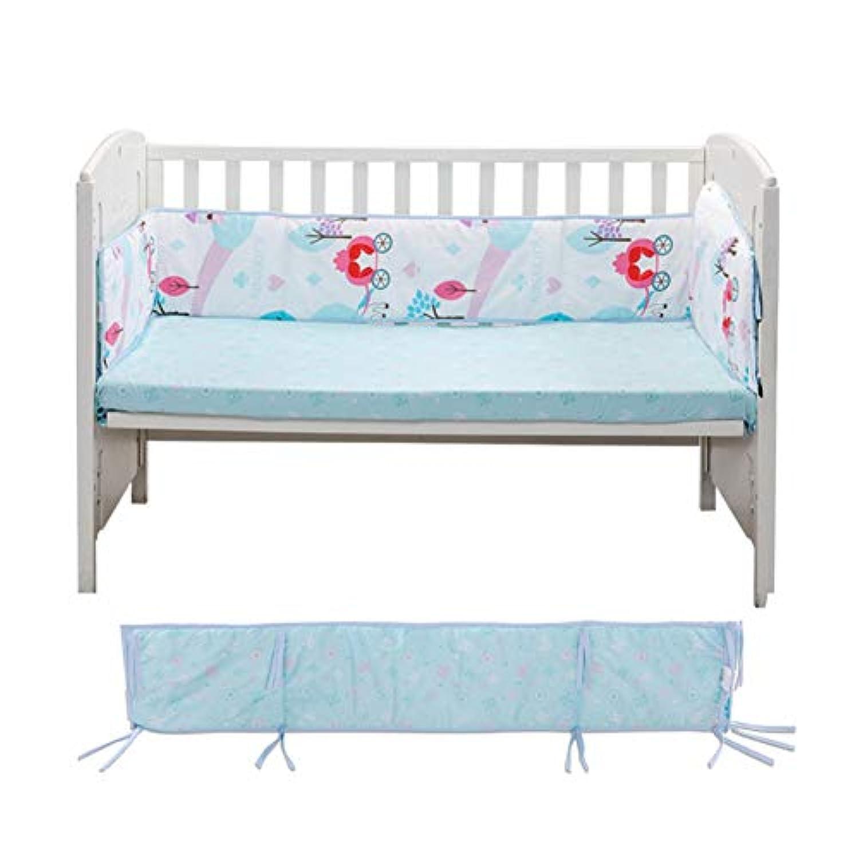 ベッドレール 通気性 綿 洗える 反衝突 ベッドガード 3 ピース セーフティ バンパー 警備員 セット-ブルー