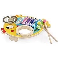 幼児期のゲーム 木製の多機能魚の音ノックピアノ赤ちゃんヒット教育おもちゃ(黄色)