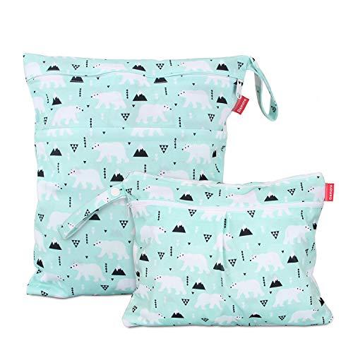 Damero 防水バッグ オムツポーチ 2点セット かわいい 多機能 オムツ 着替え 水着 お風呂用品 タオル 食事セット入れ S+L,ホッキョクグマ