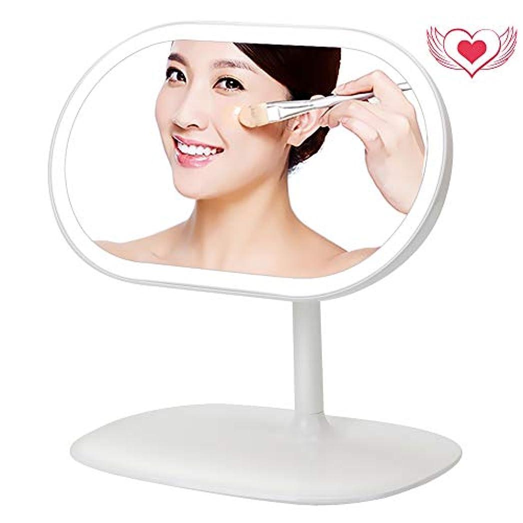 ボトル老人結果として美人さんの鏡 化粧鏡 LED ライト付き 3 in 1 デスクライト USB充電 収納台座 メイクアップ 卓上ミラー 磁気 360度回転 化粧ミラー