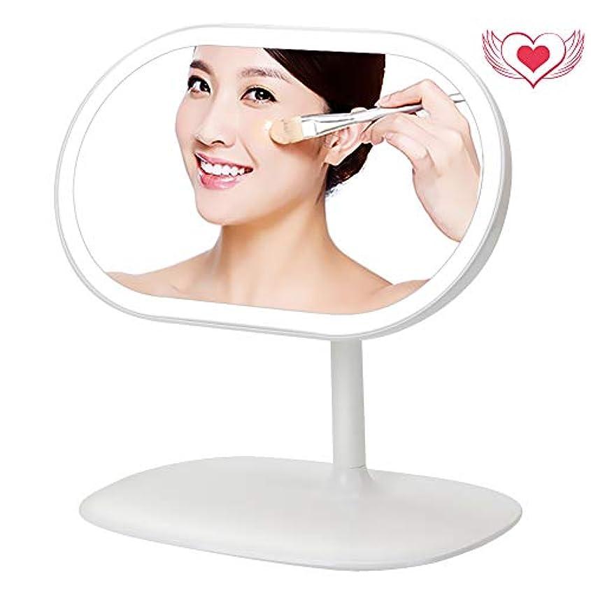 ヘビー明確なアトラス美人さんの鏡 化粧鏡 LED ライト付き 3 in 1 デスクライト USB充電 収納台座 メイクアップ 卓上ミラー 磁気 360度回転 化粧ミラー