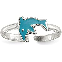 Lex & Lu Sterling Silver Polished Enameled Dolphin Toe Ring
