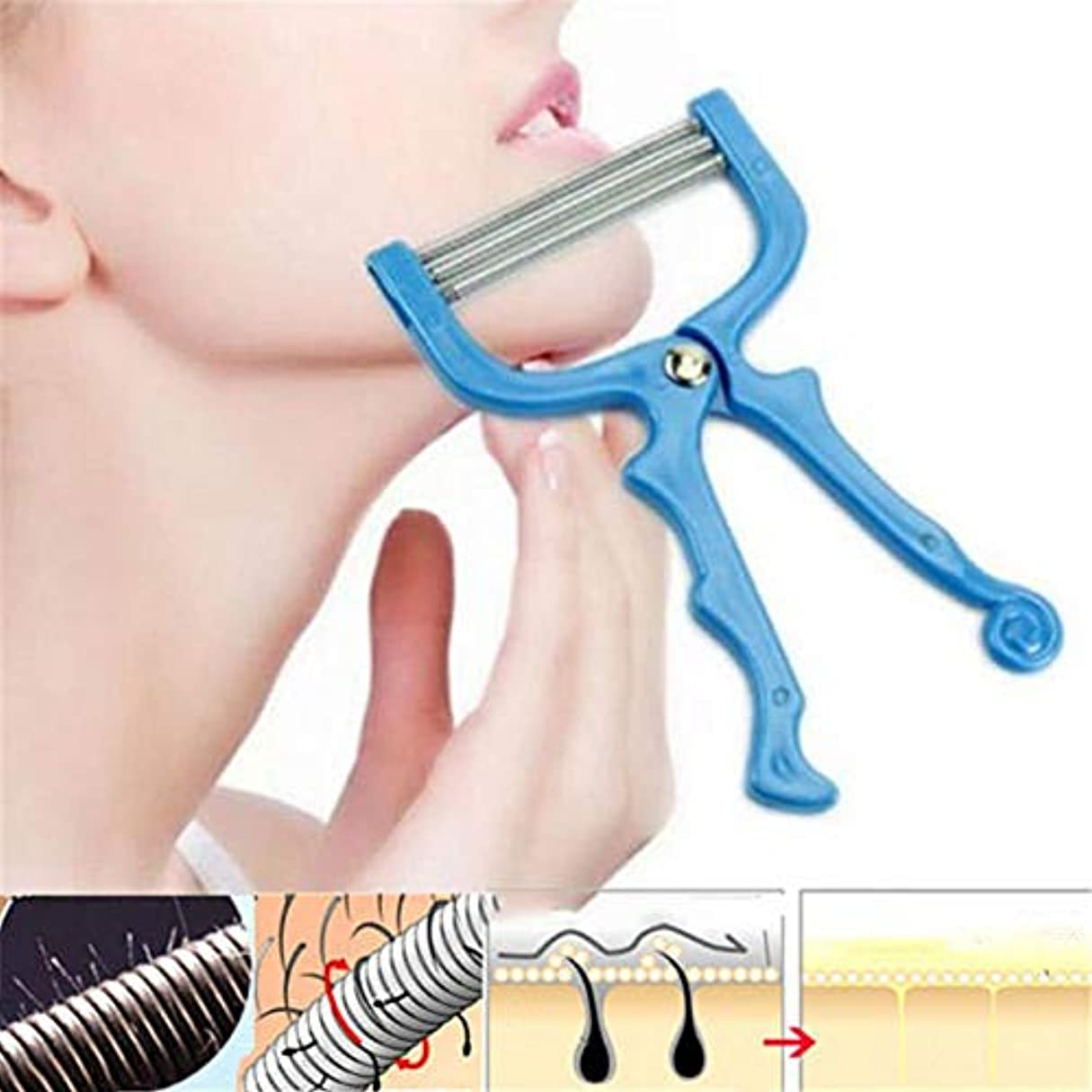 回想半円花瓶SILUN 手動脱毛器 顔/腕/足/脇/ビキニエリアで使用する リムーバー フェイシャルヘアリムーバースプリングフェイシャルヘアスレーター除毛ツール美容ツール