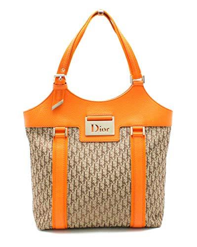 [クリスチャン ディオール] Christian Dior ディオリッシモ トートバッグ ハンドバッグ キャンバス レザー オレンジ ベージュ JCF44960