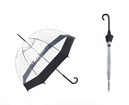 PARACHASE 長傘 ビニール傘 透明 軽量 ドーム型 手開き 男女兼用 ファッション かわいい 人気 プレゼント きれい 旅行 通勤 8本骨 直径81cm(ブラック)