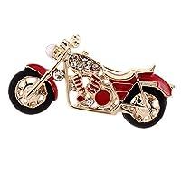 FLAMEER ピン ブローチ オートバイの形 メンズ レディース 宝石類 ラインストーン クリスマスのギフト - 赤