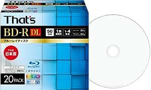 That's ブルーレイディスク BD-R DL ビデオ用 1-4倍速 360分 50GB 日本製 片面2層 ハードコート仕様 ワイドプリンタブル白 5mmPケース20枚入 BR-V50WWP20SC