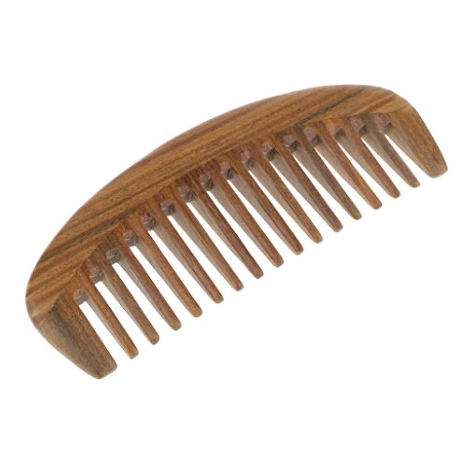 通信網バンジージャンプ憂慮すべき自然な緑の白檀の木製の櫛マッサージ手作りの髪の櫛静的でない - 15x5.5 cm