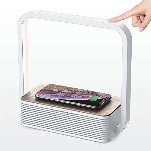 デスクライト 視力ケア LED電気スタンド Bluetoothスピーカー機能 ワイヤレス充電対応卓上ライト タッチ3階段調光付き電源アダプター付き 日本語説明書付き 1年間保証