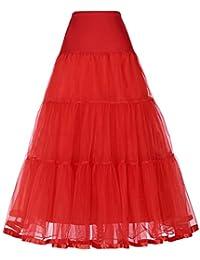 GRACE KARIN ロングスカートチュール重ねふんわりAライン透けチュール レディーズ チュチュスカート パニエ 結婚式 演奏会 ゴム仕様