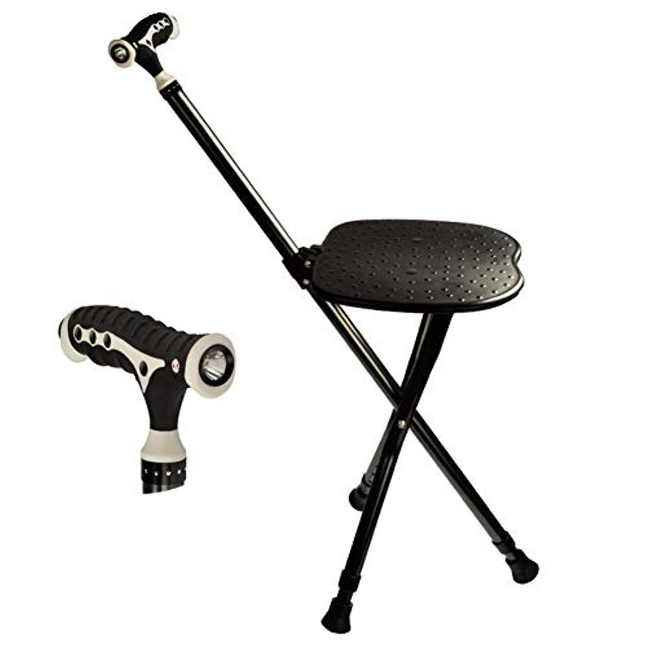 サンドイッチモノグラフコスチュームスツール多機能ベルト装着軽量滑り止め杖4本足杖折りたたみインテリジェントアウトリーチチェアと老人のスティック