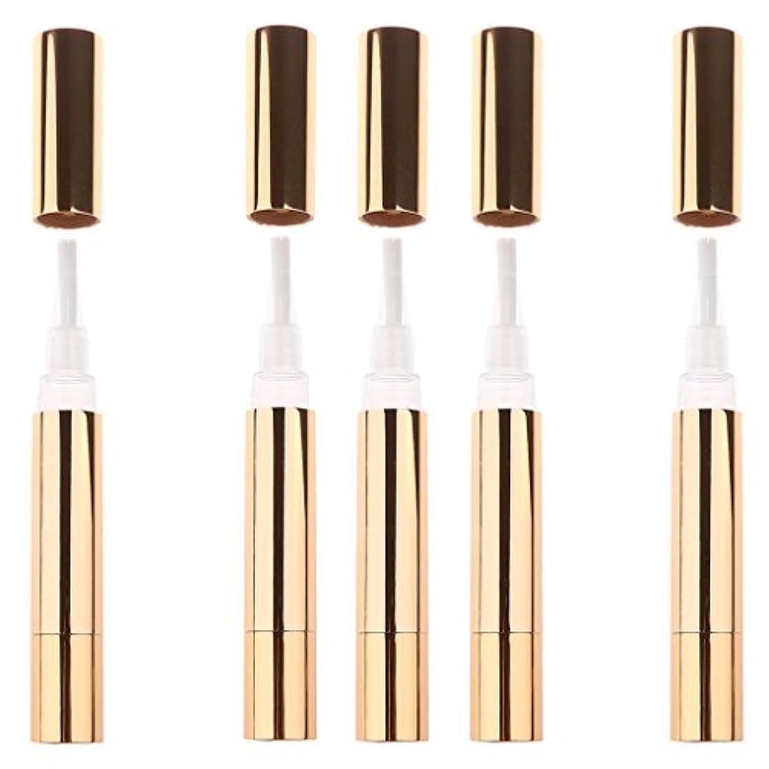 テニス広げる動機付ける3色5個5mlクリア空のツイストペン化粧品キューティクルオイルコンテナ液体リップグロスマニキュアチューブ - ゴールド