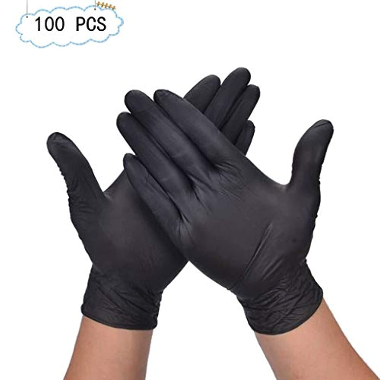 隙間誘うメディカルニトリル滑り止め酸およびアルカリテスト産業用食品使い捨て手袋ペットケアネイルアート検査保護実験、美容院ラテックスフリー、パウダーフリー、両手利き、100個 (Color : Black, Size : XL)