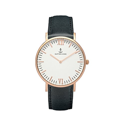 【KAPTEN&SON】キャプテン&サン #36mm Canpina Leather belt レディース 腕時計 (1-Gold×White Black) [並行輸入品]