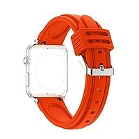 For Apple iWatchバンド42mm、ピンクリボン運動Apple Watchバンド42mmシリコンフェザーパターンSmart Watch用交換バンドステンレススチールバックル留めfor Apple Watch Sport & Edition 42MM KUN2017042332