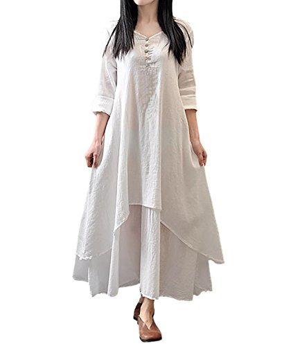 667755ed601e9 (ピオニーポップ) PEONYPOP 白 ホワイト M サイズ レディース 綿麻 ワンピース 長袖 ロング ワンピ