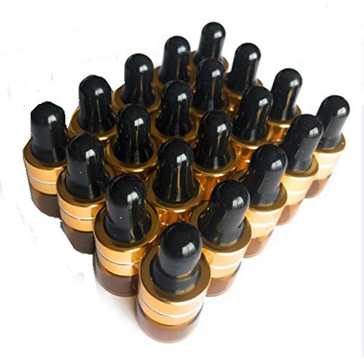 電報バッテリーモジュールits 遮光瓶 アロマオイル 精油 小分け用 ガラス製 保存容器 茶色 (20本 セット 1ml)