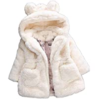 Nobrand Winter Girls Faux Fur Coat New Fleece Warm Pageant Party Warm Jacket Snowsuit 2-7Yrs Baby Hooded Outerwear Kids Clothes